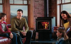 A family enjoying their fireplace
